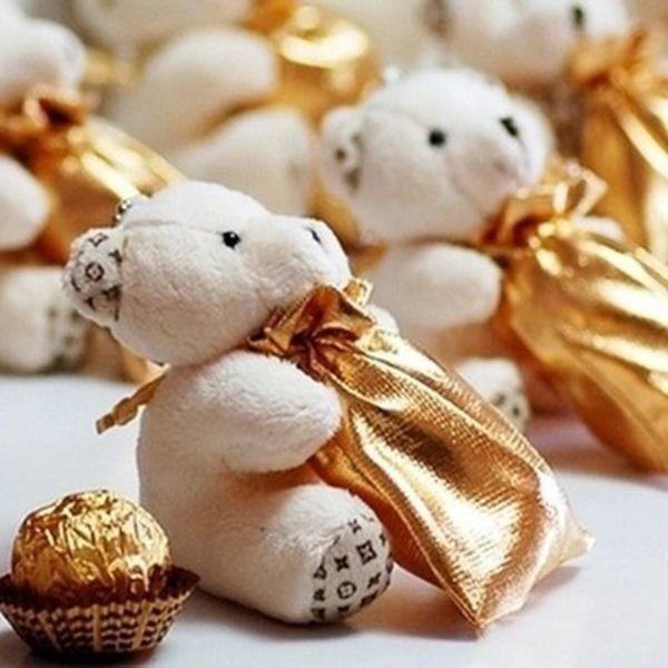 Matrimonio Avorio Teddy Bear candy bag Bomboniere per feste Regali per regali