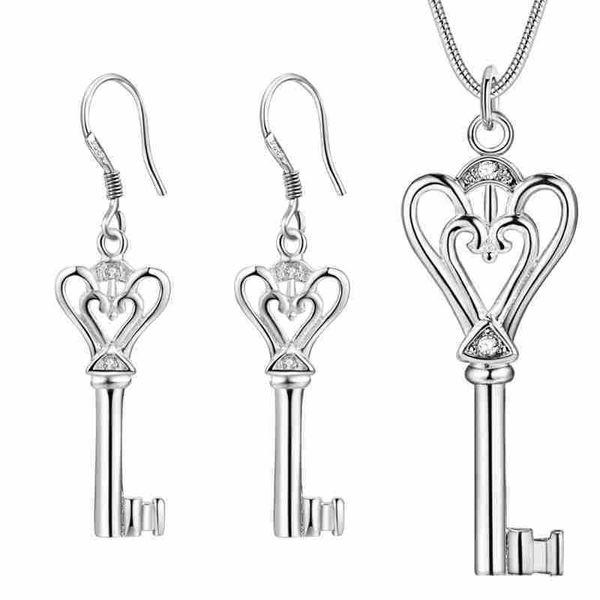 925 новый европейский кулон ожерелье серьги комплект ювелирных изделий в форме сердца ключ костюм катами все матч на заказ одежда Оптовая