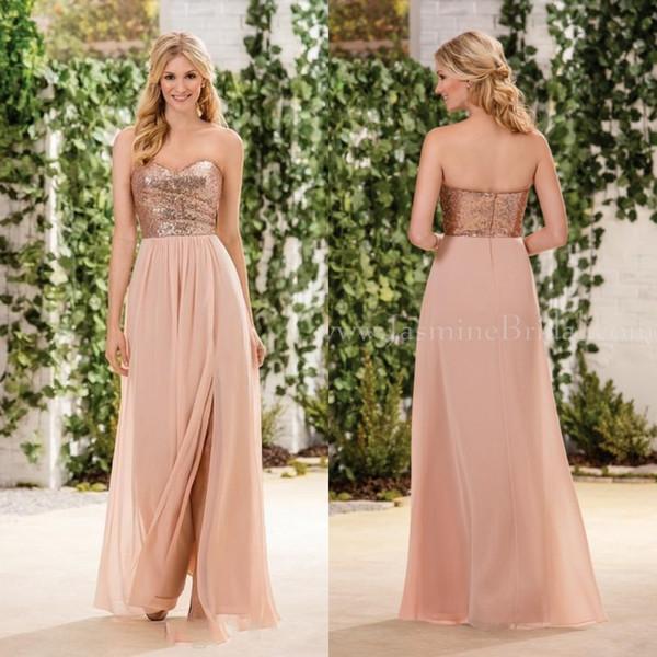 2020 Новый Жасмин Дешевые невесты платья розового золота блестки On Top шифон юбка рукавов Линия Юниор горничной честь невесты платья