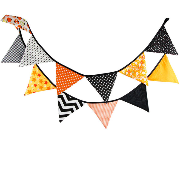 Wholesale-12 Flags 3.2m Handmade Beautiful Halloween Cotton Fabric Bunting Pennant Flags Banner Garland Home Party DIY Decorative Crafts