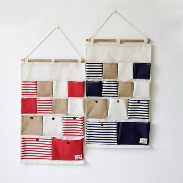 13 Pockets Hanging Storage Bag Door Wall Mounted Home Sundries Clothing Jewelry Closet Organizer Bags Pouch Blue/ Red