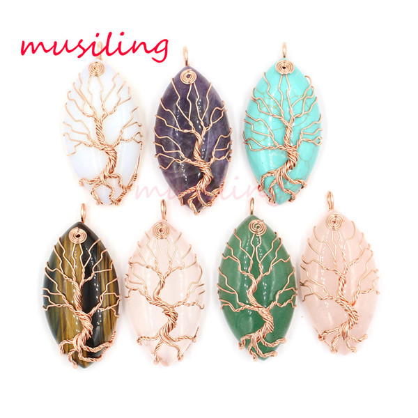 Pendants Necklace Chain Horse Eye Tree of Life Jewelry For Women Charms Bohemian Healing Chakra Wicca Witch Amulet Fashion Jewelry