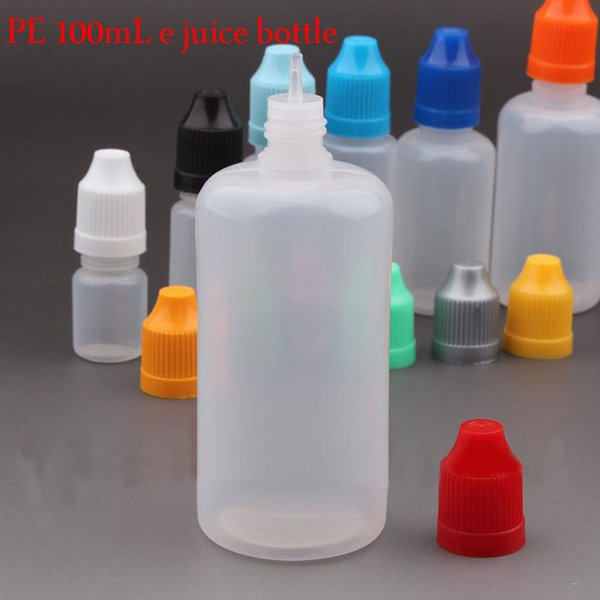 Wholesale plastic e liquid bottles 100ml PE E Cig Juice Bottles With Childproof Caps Long Thin Needle Tips
