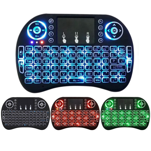 top popular Mini i8 Keyboard Backlit 2.4G Wireless Fly Air Mouse With Backlight Touchpad 3 Colours Remote Controlers For MXQ pro X96 TV Box 2020