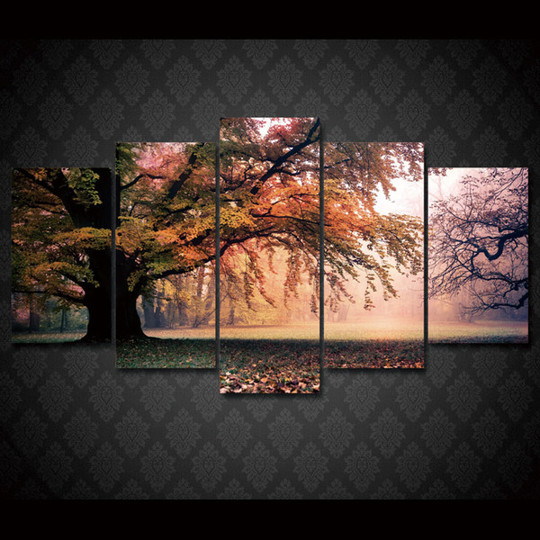 5 Pcs/Set Framed HD Printed Fall Maple Tree Picture Wall Art Canvas Print Decor Poster Modern Canvas Oil Painting