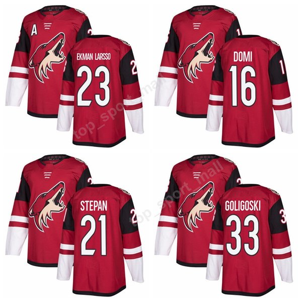 2018 ad new 23 oliver ekman-larsson jersey custom arizona coyotes ice hockey jerseys red 21 derek stepan 33 alex goligoski 16 max domi
