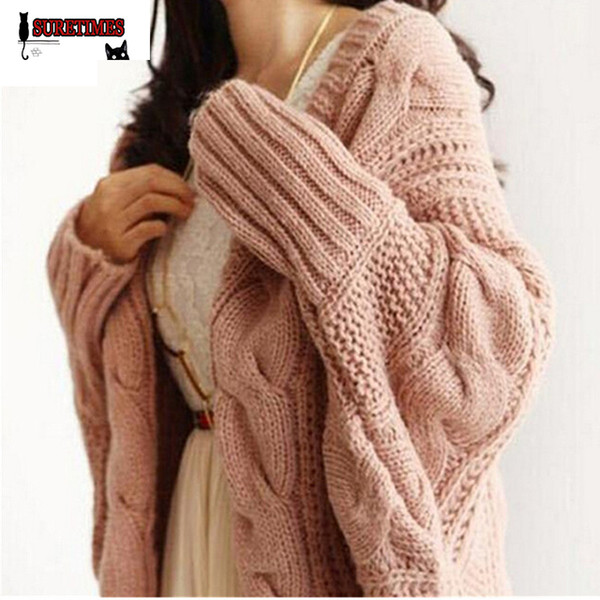 Wholesale- Autumn Winter Knitted Cardigans Coat Women 2017 Fashion Long Sleeve Batwing Poncho Sweater Beautiful Womans Crochet Cardigan