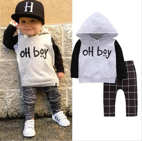 Herbst Ins Infant Baby Jungen Kleidung Set Kinder Baumwolle Mit Kapuze T-shirt Sweatshirt + Hosen 2 stücke Sets Kinder Jungen Outfits Anzüge 3262