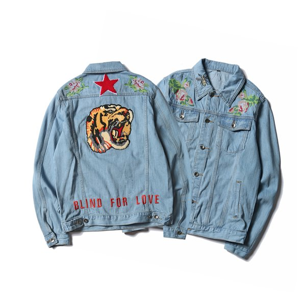 Tiger Patches Design Blue Denim Jean Classic Biker Jacket Embroidered Lapel Men's Motorcycle Jackets Coat