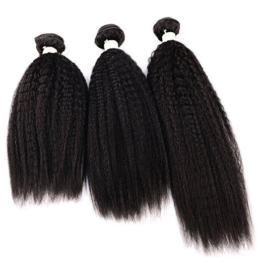 Yaki Hair Bundles Kinky Twist Hair Extensions 100% Natural Material Real Brazilian Virgin Human Hair Pieces 3 Bundles/Lot 8A Unp