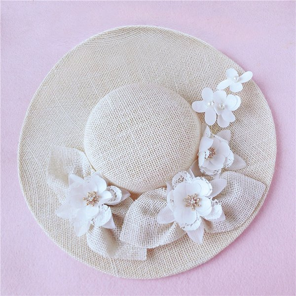 New Design Ivory Bridal Hat Delicate Floral Linen Garden Wedding Hair Accessory Bride Mother Special Occasion Party Photo Hat Free Shipping