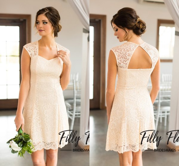New Design Nude Cheap Bridesmaids Dresses Full Lace A line V Neck Backless Knee Length Short Bridesmaid Dresses Cheap Gowns