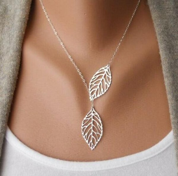 Brand new Explosive leaves necklace double leaves clavicle chain jewelry female jewelry WFN110 (with chain) mix order 20 pieces a lot
