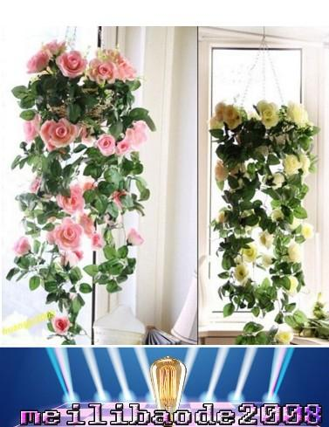 Brand New Fashion Silk Rose Flower Fake Artificial Ivy Vine Hanging Garland home Wedding Decor free shipping MYY