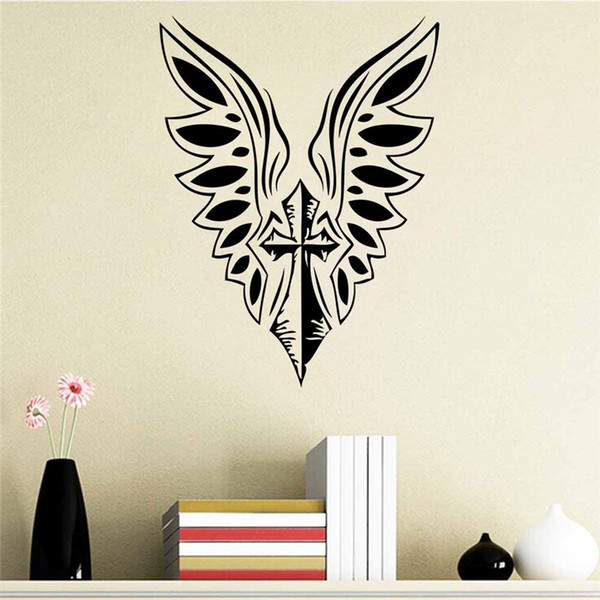 Cross Angel Wings Wall Decals Home Decoration for Living Room Bedroom Stickers Art Vinyl Diy