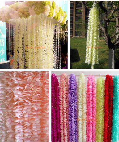 Artificial Hydrangea Wisteria Flower 10colors DIY Simulation Wedding Arch Door Home Wall Hanging Garland For Wedding Garden Decoration