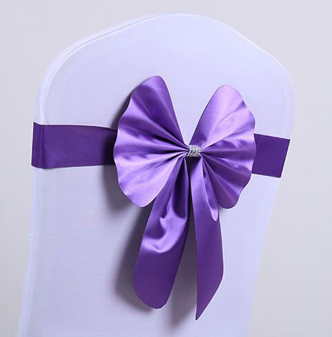 Free EMS 100pcs Short Ribbon (No need to Tie the Knot) Wedding Chair Cover Sashes Sash Party Banquet Decoration Bow
