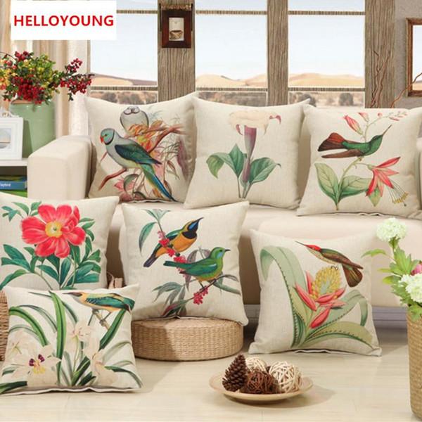Cojín caliente de lujo ventas funda de almohada de casos de países Aves Imprimir asiento Cojines diseño de la flor de lino de algodón del coche del sofá