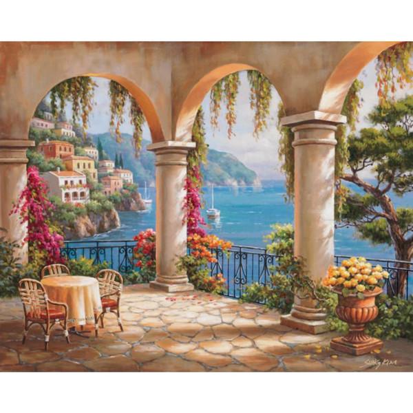 Compre Pinturas Hechas A Mano De Sung Kim Paisajes Italianos Terraza Arco Arte Moderno Paisajes Marinos óleo Sobre Lienzo Para Decoración De La Sala A