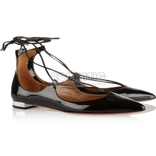 2017 Westerm Tarzı Bahar ve Yaz Yeni Siyah Deri Koyun İpucu Düz Alt Dantel Ayakkabı Eğlence Bayan Ayakkabıları