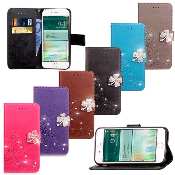 Wallet Bling Case with Diamond for iPhone 5C 5E 6 7 Plus Card Slot Kickstand Flip Cover Glitter Phone Case PU Leather + TPU Case for iPhone6