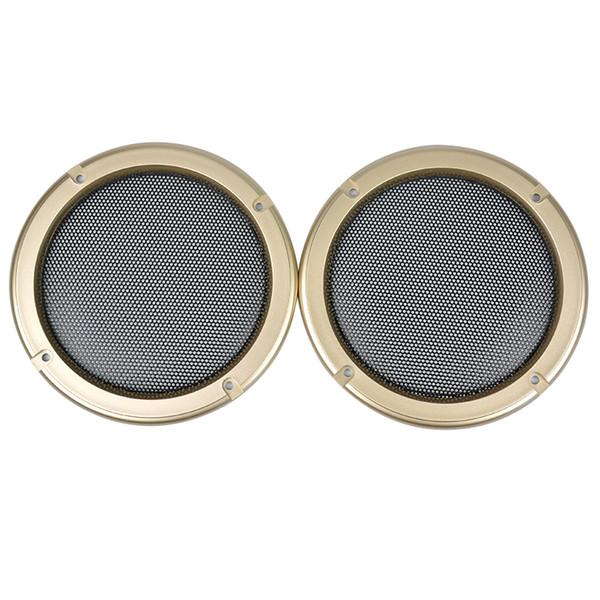 Wholesale- 2pcs 5 inch Golden Speaker Protective Grille SoundBox Face Mask Car Loudspeaker Safety Guard