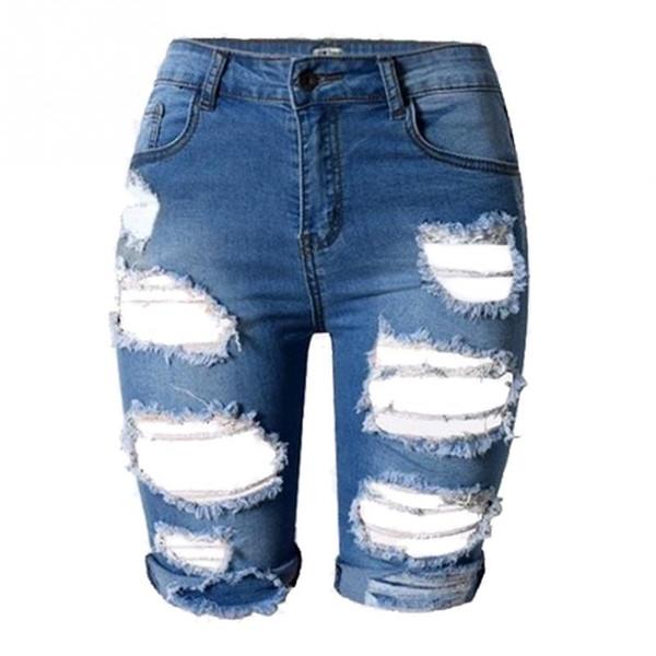 best selling Wholesale- Summer high High Waist Shorts Women Denim Shorts Vintage Streetwear Ripped Short Jeans Worn Hole Female Casual Shorts