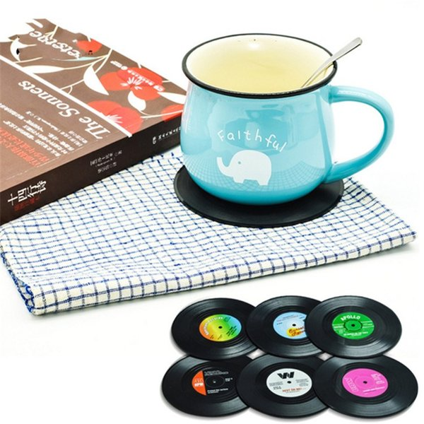 6 Pz / set Home Table Stuoia della tazza Creative Decor Coffee Drink Placemat Stoviglie Spinning Retro Vinyl Cd Record Drink Coasters