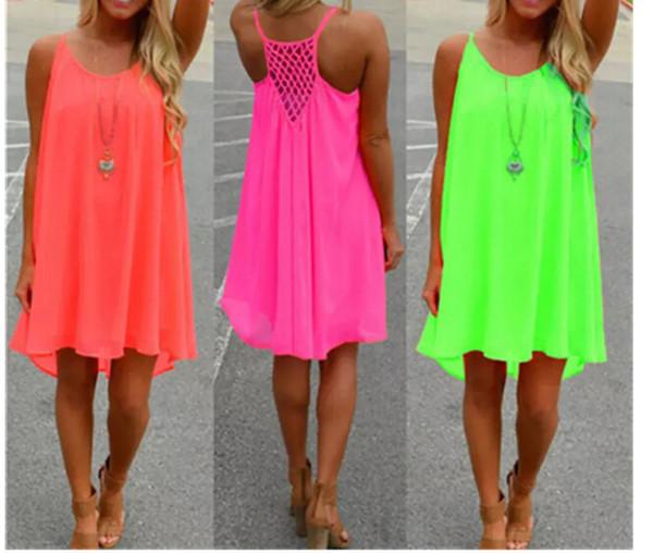 best selling New Fashion Sexy Casual Sleeveless Dresses Women Summer Evening Party Beach Dress Short Chiffon Mini Dress BOHO Womens Clothing Free shippin
