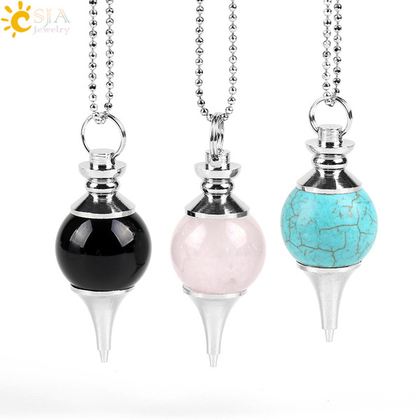 CSJA Yoga Dowsing Healing Pendant Necklace Natural Round Gemstones Divination Silver Jewellery Health Stone White Rose Quartz Gift E564 B