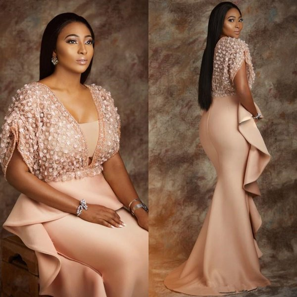 Sexy AsoEbi Plus Size Blush Lace Stain Mermaid Evening Dresses With Wrap 2017 Shiny Detail Ruffles Over Skirt Prom Occasion Gown