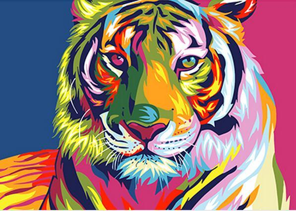 Digitale Diy peinture à l'huile par numéros image de décor de mur de tigre de neige sur la peinture à l'huile de toile coloration par le nombre d'animaux de dessin