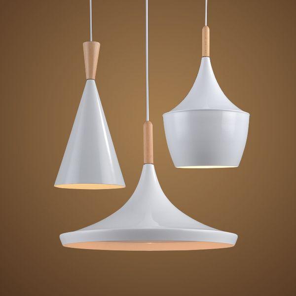 Modern Pendant Light Wood Metal Lamp E27 Socket Loft Hanging Light 3pcs suit White Fixture Industrial Lighting Lamparas