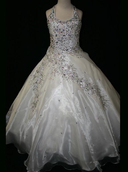 Atacado 2017 Nova Marca Frisada Coberta Halter Top Branco Little Girl Pageant Vestidos Princesa Vestido de Baile LRG6