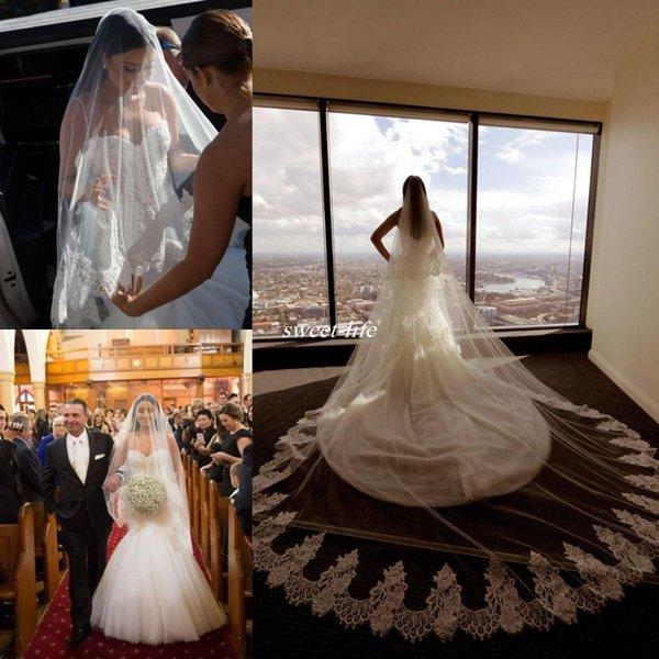2020 Винтаж Пляж Фата Один Слой Кружева Аппликация Край Невесты Фаты На Заказ Длинные Свадебные Вуали