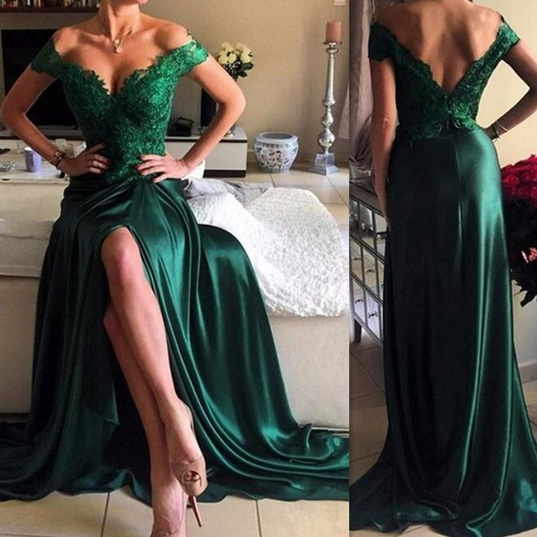 2018 Dresses Evening Wear Emerald Green Elastic Satin Off The Shoulder Sexy Appliques Lace Split Side Formal Prom Party Gowns Custom Made