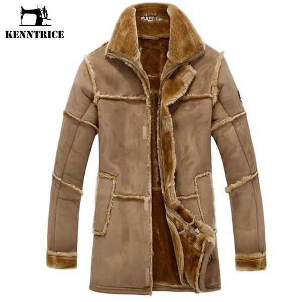 top popular Wholesale- KENNTRICE Trench Coat Men Suede Jacket Patchwork Leather Jackets Men Faux Fur Coat Luxury Thick Warm Long Suede Jacket 2019