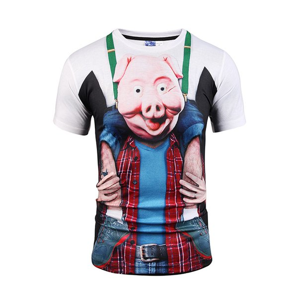 Designer shirts men t shirts for men T-shirt 3d short sleeve cute pig print Fake two piece short sleeve BL-039