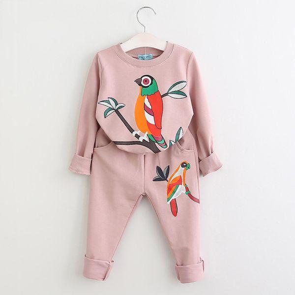 Traje de suéter de otoño nuevas niñas coreanas sello manga traje de pantalones para niños por mayor aves