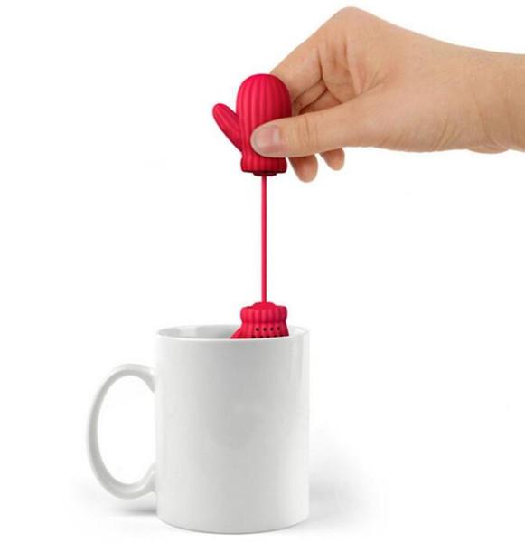 Luvas de Papai Noel Chá Infusor de Silicone Luva de Chá Coador de Ervas E Chá Filtro Criativo Presente de Natal