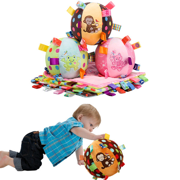 Wholesale- Baby Playing Plush Toys Bell Musical Cloth Ball Early Education Monkey Developmental Soft Stuffed Doll Bed Rattles Kids Gift