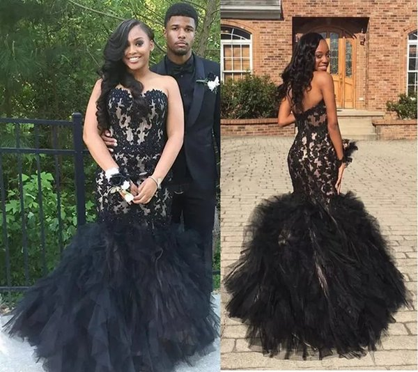 2988da29f152 Gorgeous Black Applqiued Lace Long Prom Dresses 2017 Strapless Layered  Organza Evening Gowns Long Satin And Tulle Formal Party Dress