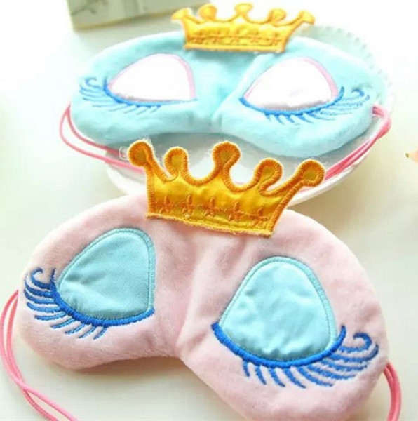 best selling Wholesale Lovely Pink Blue Crown Sleeping Mask Eyeshade Eye Cover Travel Cartoon Long Eyelashes Blindfold Gift For Women Girls lesgas