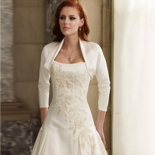 top popular Hot Selling Ladies 100% High Quality Three Quarter Sleeve Satin Wedding Bolero Vintage Design Wholesale Jacket 2021