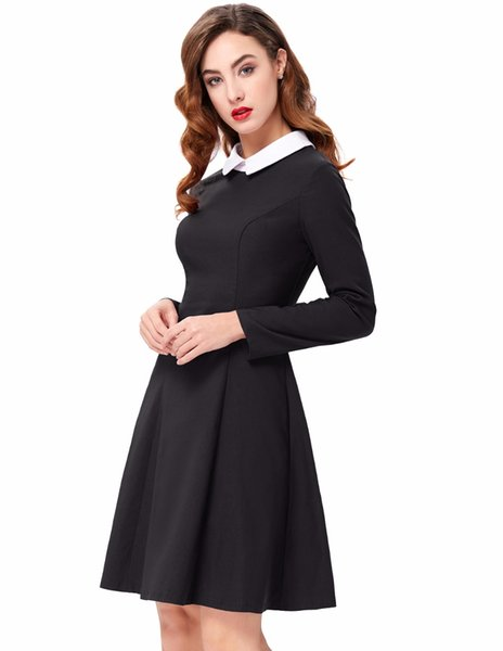 Wholesale free shipping Womens Sexy Elegant Winter Fashion Women Stylish Slim Fit Long Sleeve Contrast Color Doll Collar A-Line Dress Bodyco