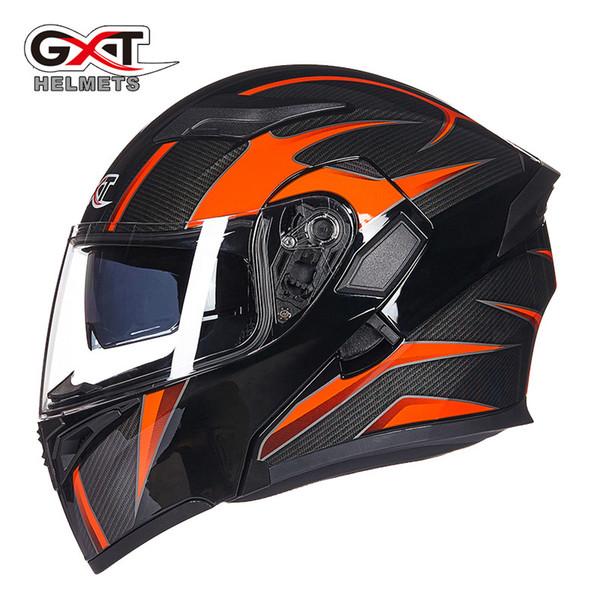 Wholesale- Hot sale GXT 902 Flip Up Motorcycle Helmet Modular Moto Helmet With Inner Sun Visor Safety Double Lens Racing Full Face Helmets