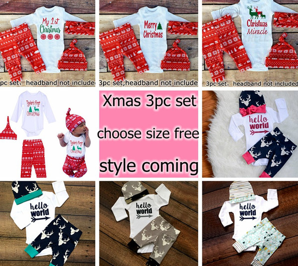 2017 New Boys Girls Xmas Hello World Letter Romper tops & baby ins Pants & infant white caps hats 3pcs Baby Outfits Set 0-2year
