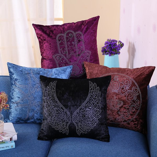 Ice Velvet Hot Drilling Pillow Case Soft Fashion Pillowslip Wing Crown Pattern Cushion Luxury And Elegance Bolster Covers 8ds R