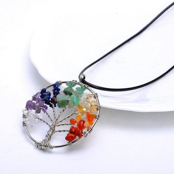 7 renkler Hayat Ağacı Şifa Kristal Tel Sarma Doğal Taş Kolye Kolye doğum günü hediyesi için wholsale