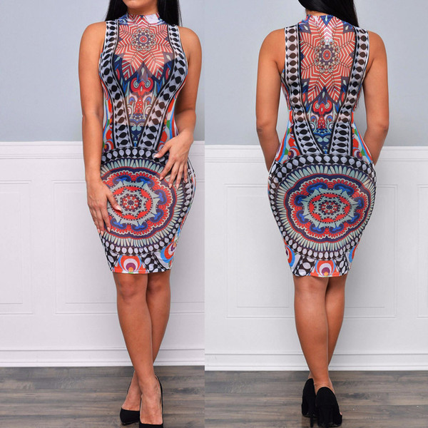 best selling Women Mesh Back Club Dress Party Bodycon Printk Knee-Length Sheath Dress plus size